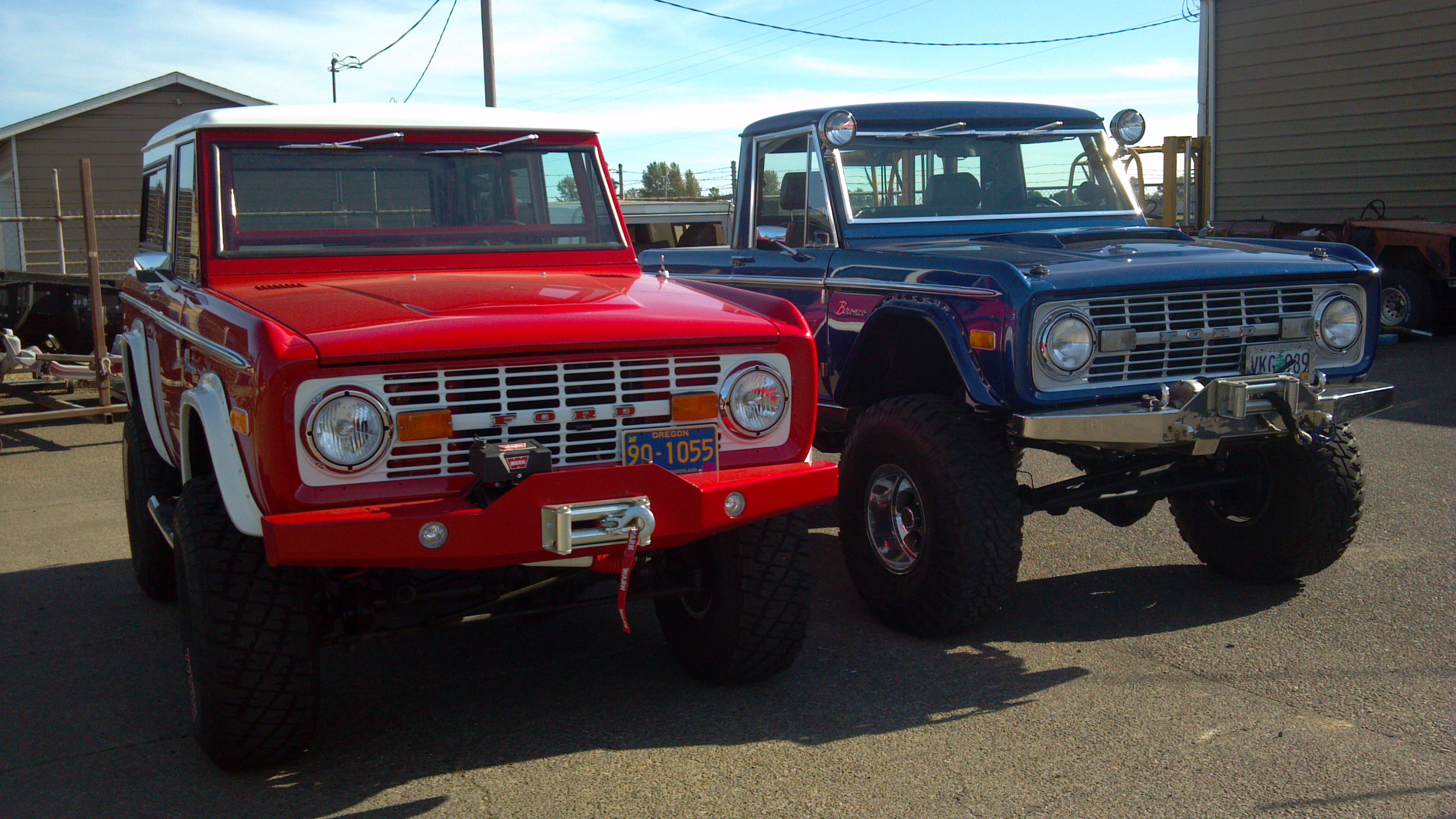 Red and Blue Early Ford Broncos