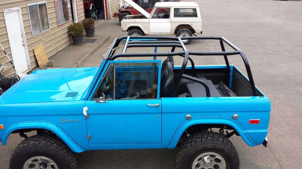 Blue Early Ford Bronco Roll Cage