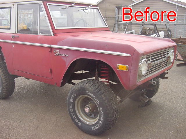 B & B auto - Early Red Ford Bronco Restoration Before Picture